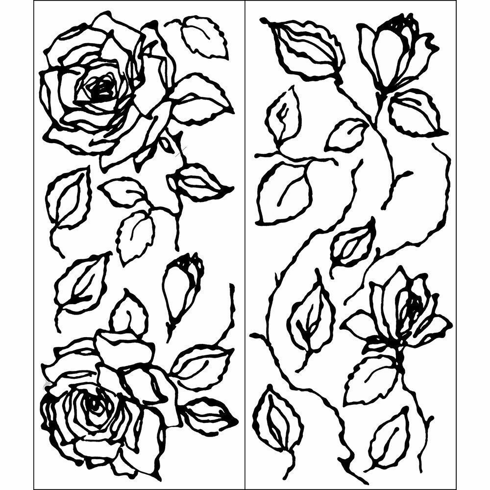 Betsy rose flower modern black outline roses mural decal for Black and white rose wall mural
