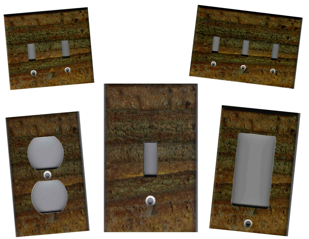 Log Cabin Logs Image Home Wall Decor Light Switch Plates