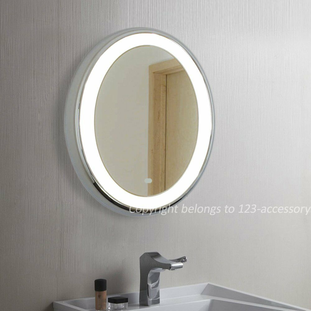 Modern Round Led Illuminated Bathroom Mirror Ir Sensor Demister Wall Mount 500 Ebay