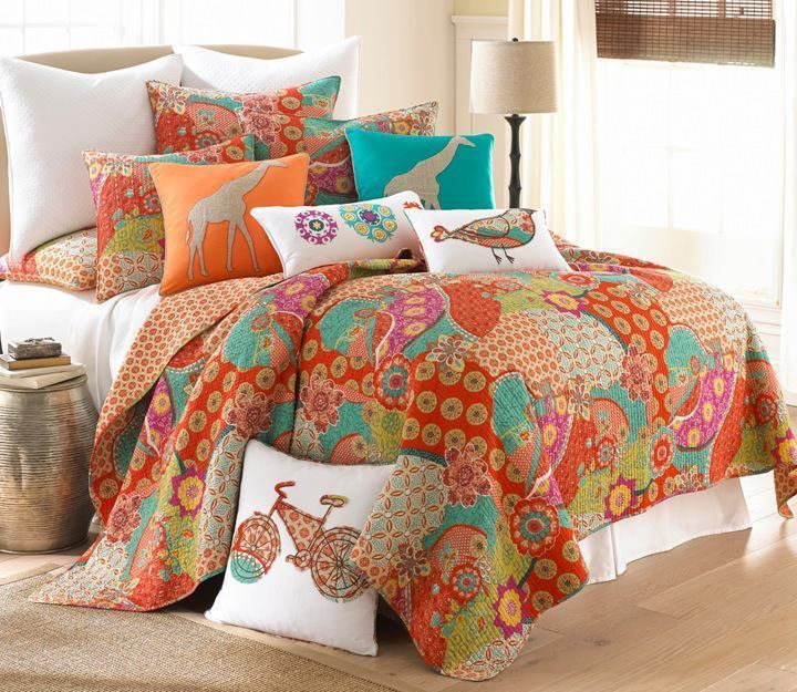 Cot In A Box Morocco Turquoise: EXOTIC MOROCCAN KING QUILT ORANGE AQUA TEAL BLUE YELLOW