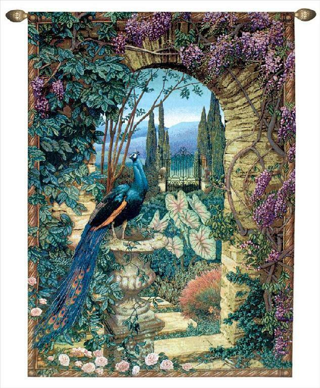 80x56 large peacock secret garden floral tapestry wall for Wall hanging images