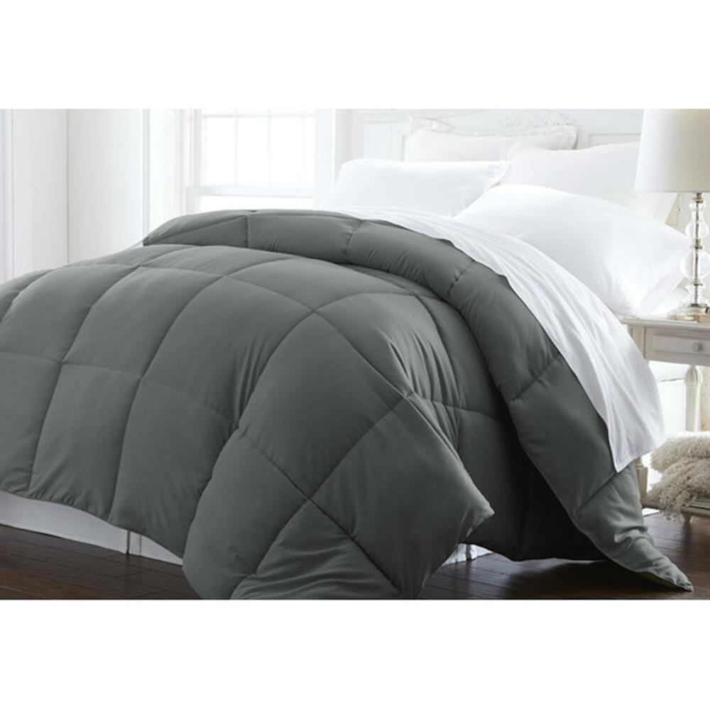 super plush down alternative comforter box stitch gray full queen size ebay. Black Bedroom Furniture Sets. Home Design Ideas