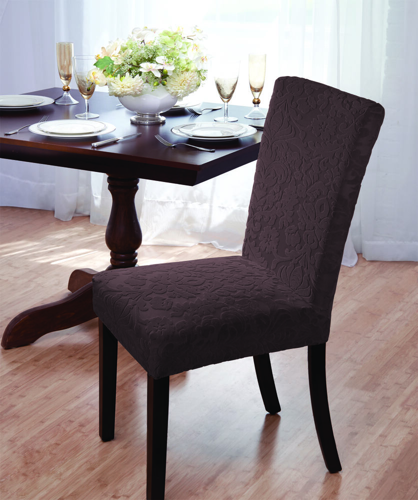"Clearance Dining Room Chairs: CLEARANCE---BROWN---VELVET ""STRETCH"" DAMASK DINING CHAIR"