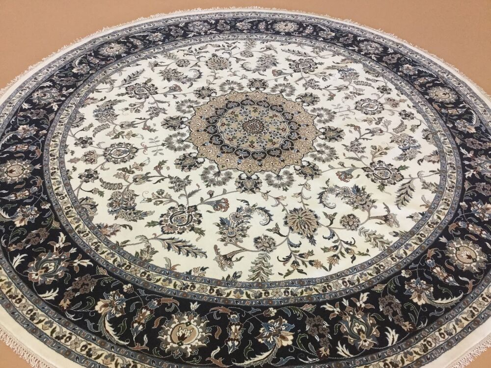 10 X 10 Ivory Blue Wool Amp Silk Nain Persian Oriental Area