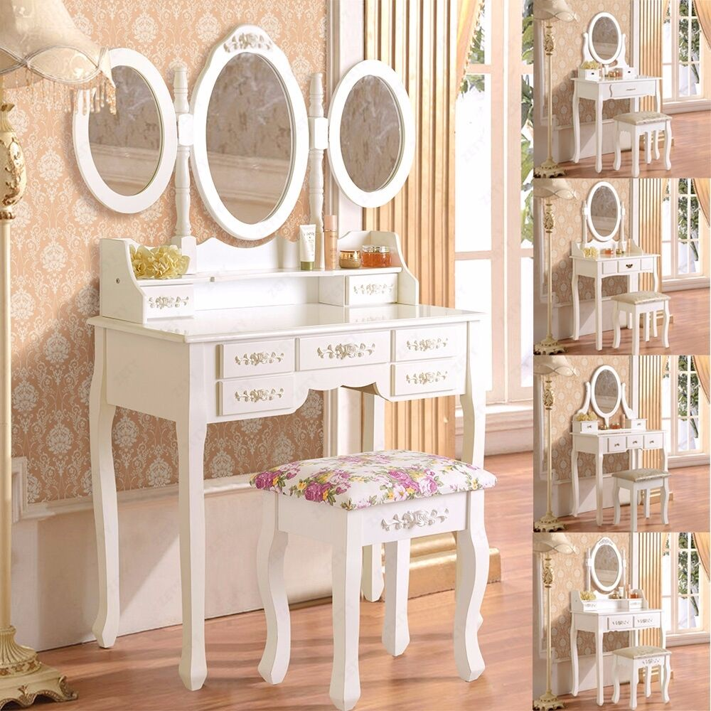 White Dressing Table Makeup Desk With Stool Drawers And