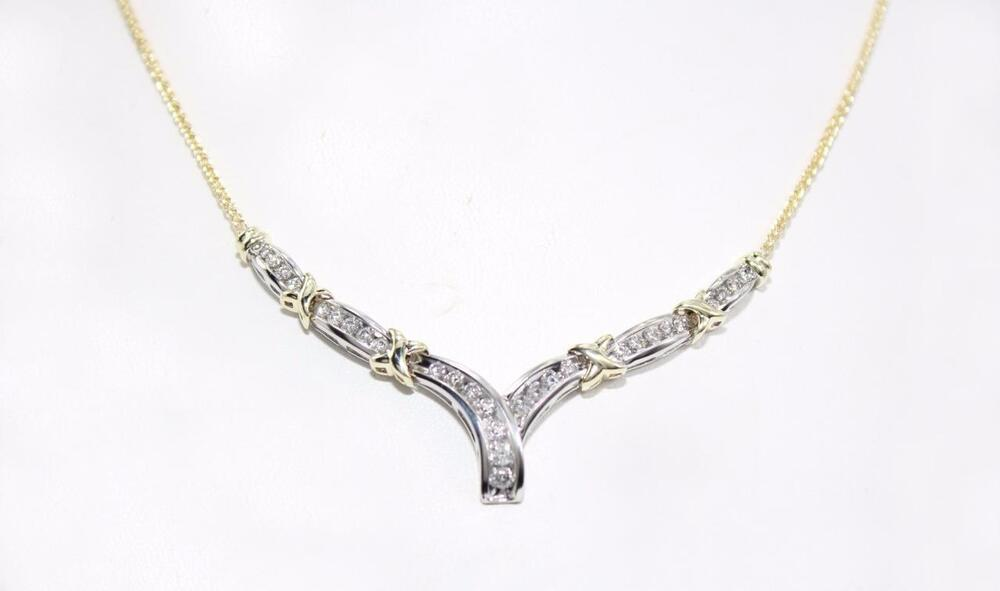 Zales 10k Multi Tone Gold V Shaped Diamond Necklace 1 75
