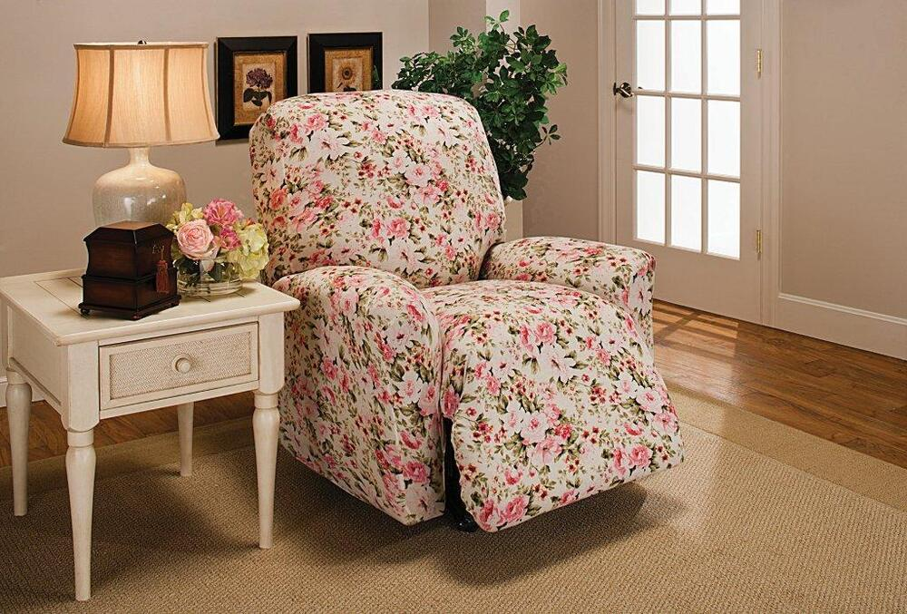 Pink Or Blue Floral Recliner Cover Also In Sofa Couch Loveseat Chair Futon Slip Ebay