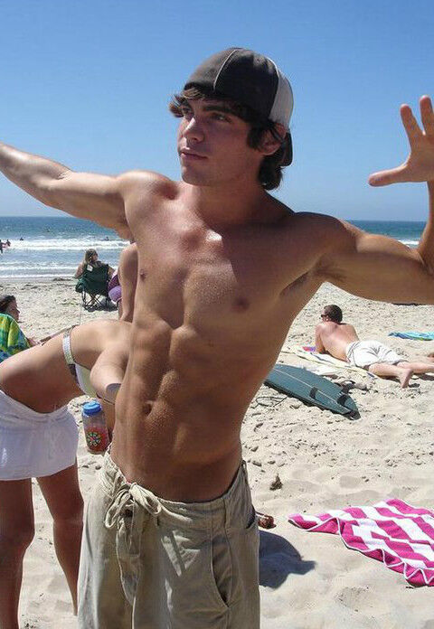 Shirtless Muscular Athletic Male Beach Frat Jock Abs Pits -8652