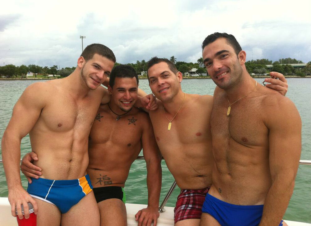 Shirtless Athletic Muscle Males Party Guys Boating Speedo