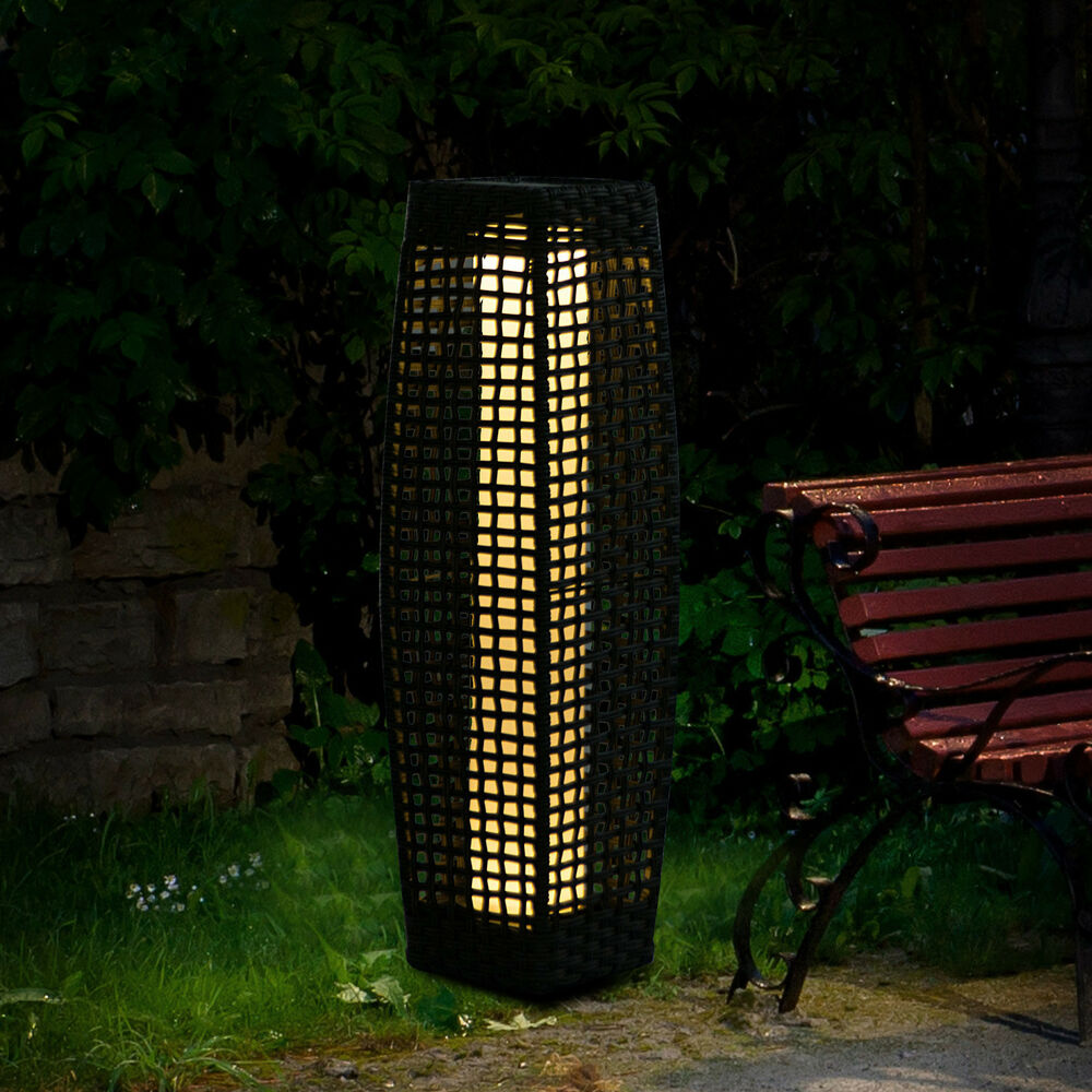 Outsunny Rattan Lamp Solar Led Powered Effect Wicker Patio