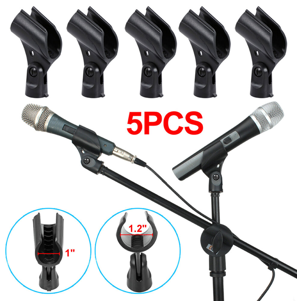 black 5 pack mic microphone stand clips holder standard flexible plastic clamp ebay. Black Bedroom Furniture Sets. Home Design Ideas