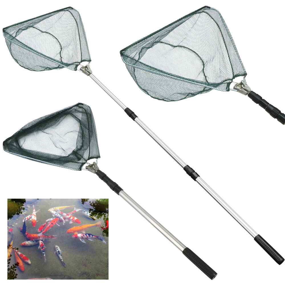 New 67 retractable folding fishing brail landing nets for Telescoping fishing net