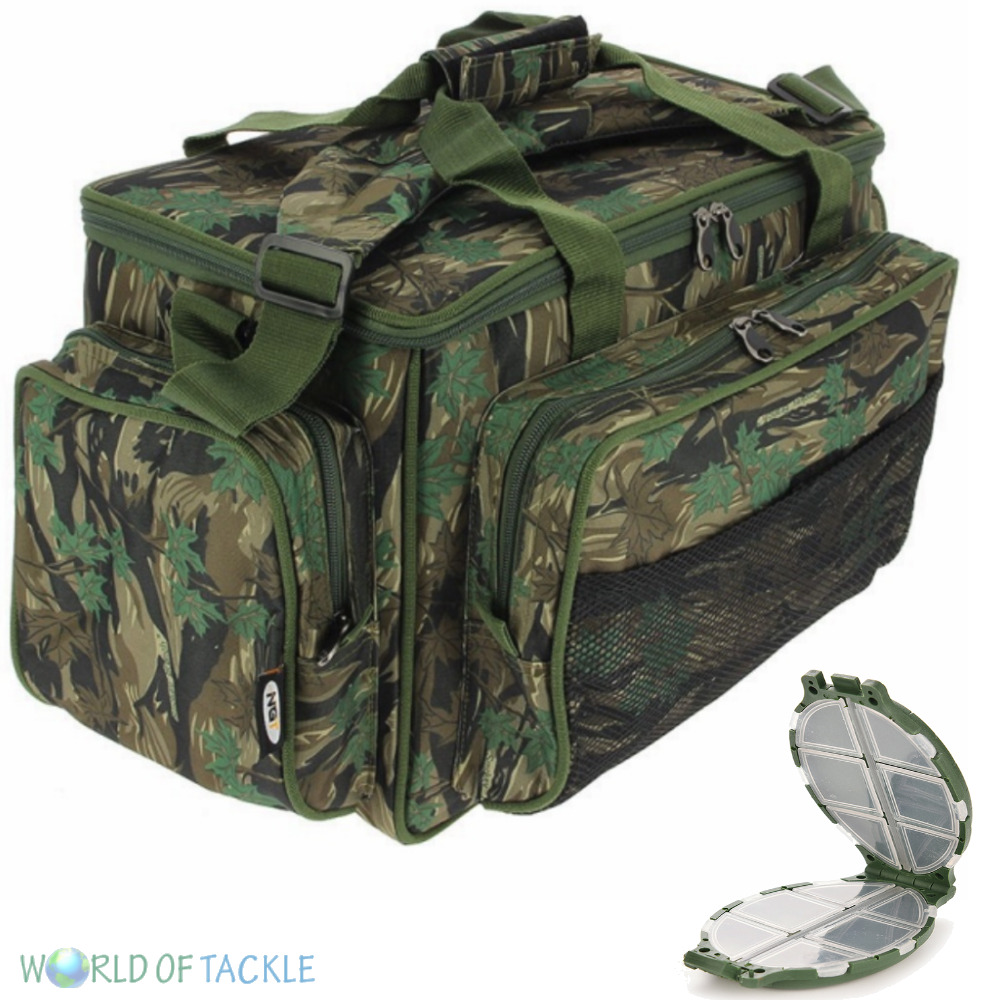 Fishing carryall camo insulated tackle bag ngt holdall for Ebay fishing gear