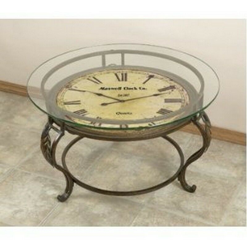 Aspire Cocktail Table With Clock Reddish Brown New Ebay