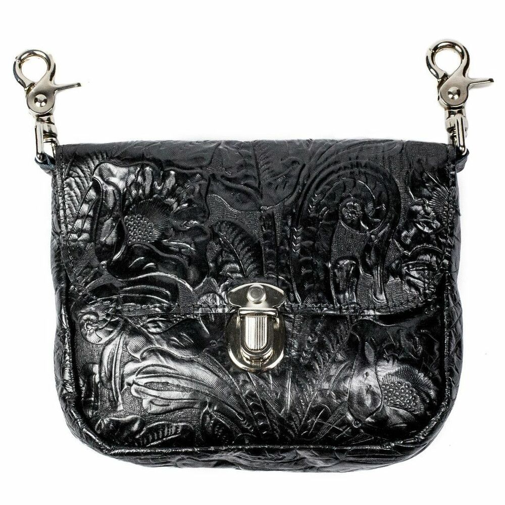 genuine leather belt bag hip clip purse embossed