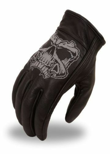 Mens Short Leather Motorcycle Gloves