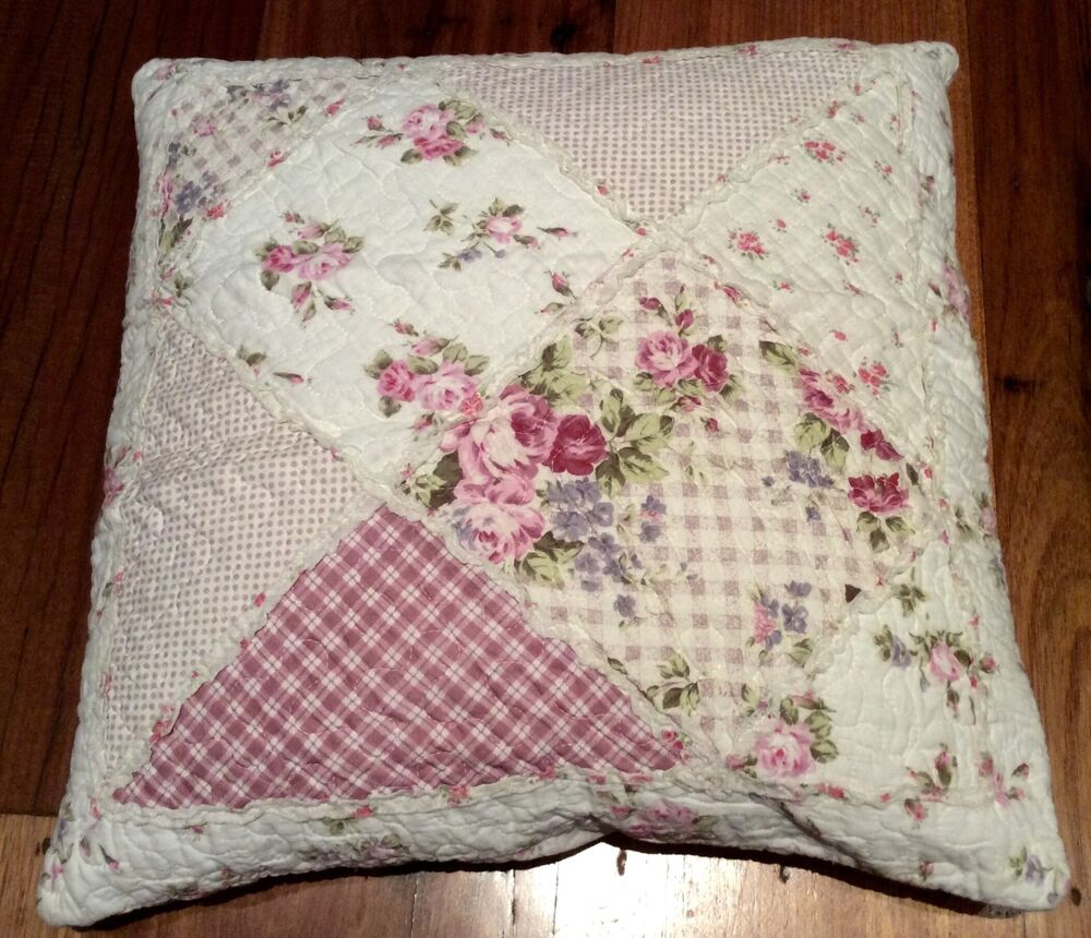 Shabby Chic Throw Cushion Pillow Cover Sham Pink Patchwork Florals 45cm eBay