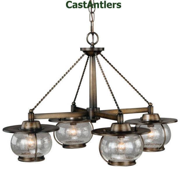 Rustic Cabin Country Western Chandelier 4 Light Old World