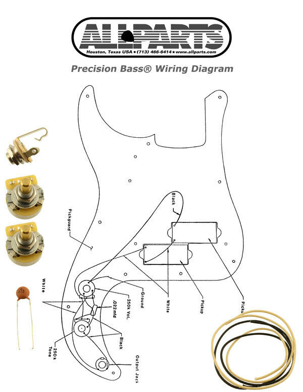s l1000 new precision bass pots wire & wiring kit for fender p bass guitar fender jazz bass wiring diagrams at reclaimingppi.co