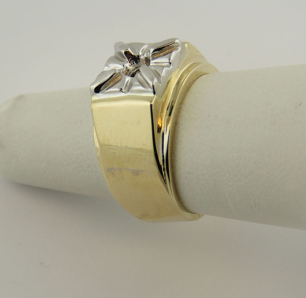 1ct men 39 s solitaire ring mounting 14k yellow gold for 6 5. Black Bedroom Furniture Sets. Home Design Ideas