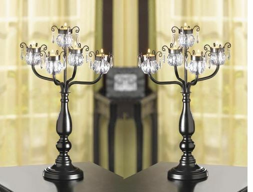 Large black quot chandelier candelabra candle holder