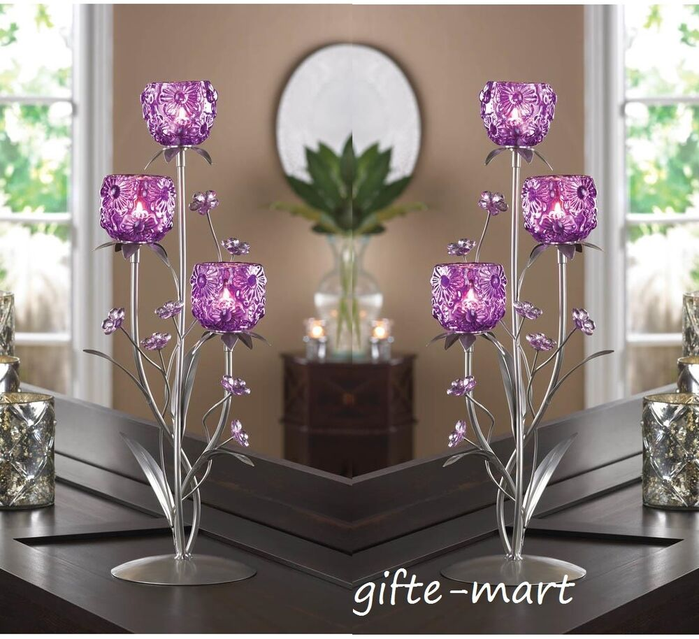 Large purple flower quot tall candelabra table candle