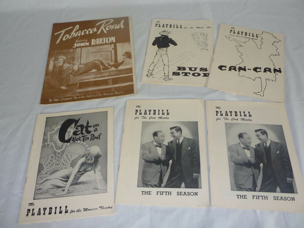5 Vtg Playbill Programs Can Can Cat On A Hot Tin Roof Bus