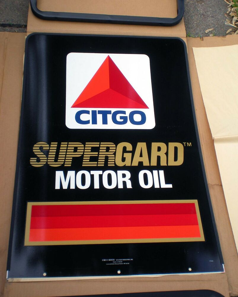 Sale vintage nos 24x36 citgo supergard motor oil sign double sided curb standing ebay Sale on motor oil