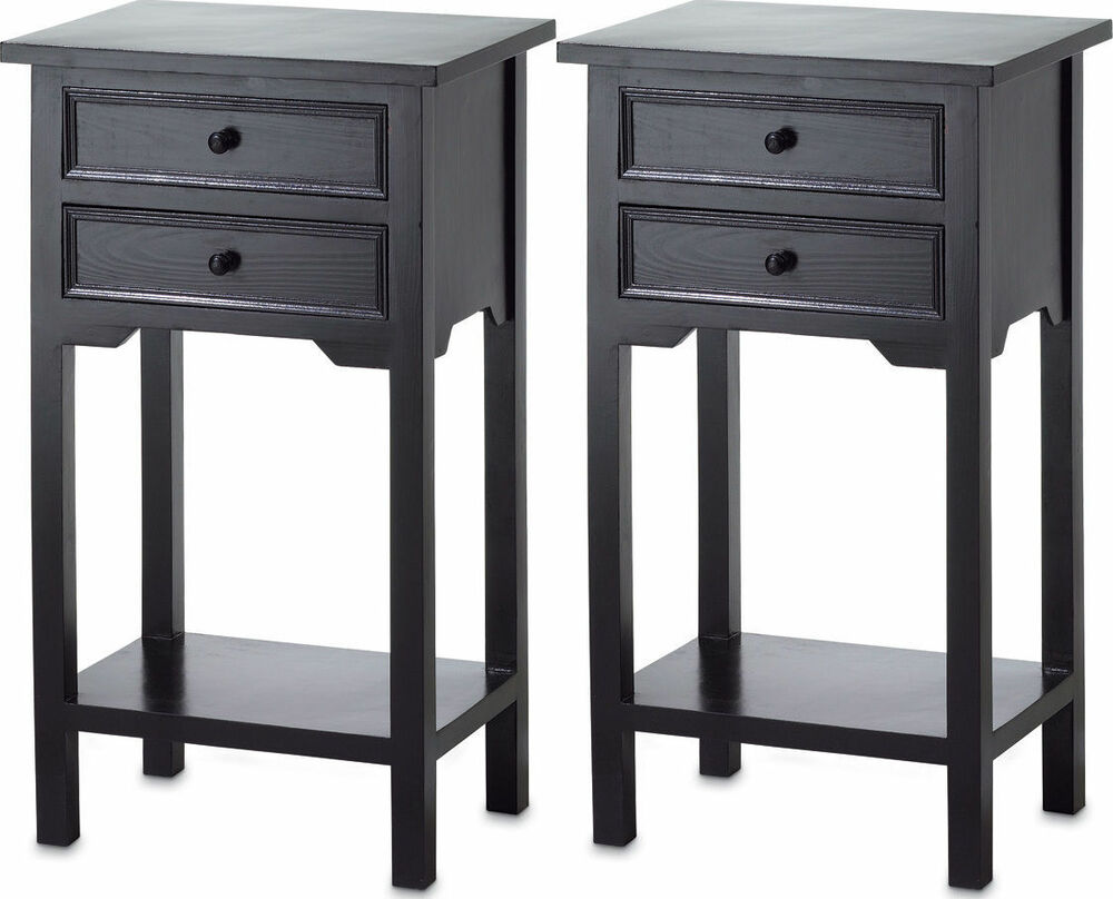 2 Modern Black Small Side End Bedside Table Bedroom Night