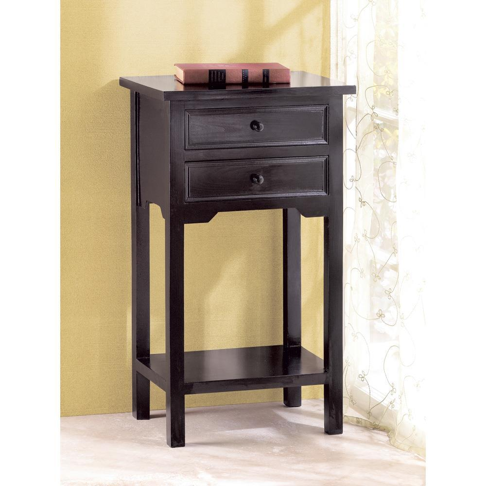 Modern black small 16 end side bedside table bedroom for Small tall end table