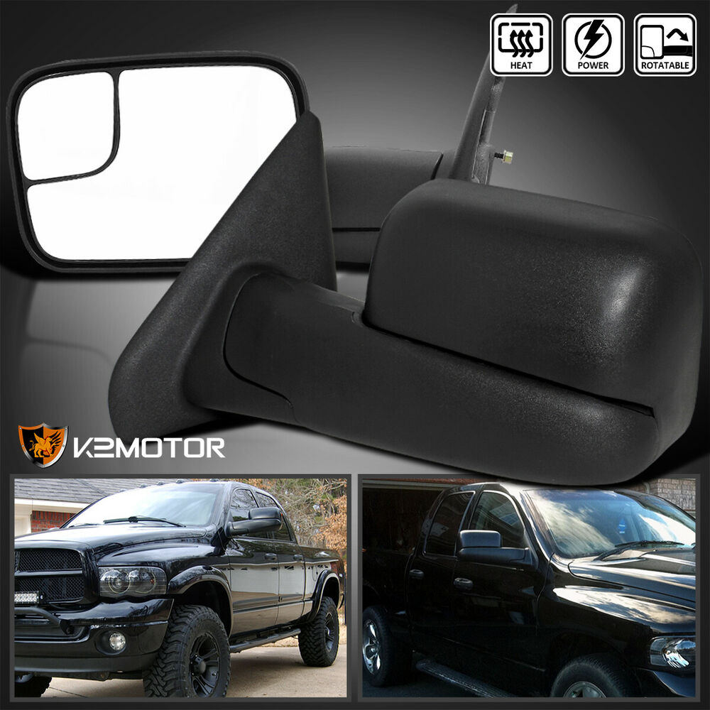 2002 2008 dodge ram extend flip up power heated towing tow mirrors left right ebay. Black Bedroom Furniture Sets. Home Design Ideas