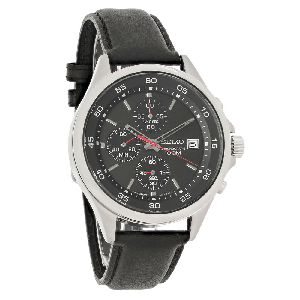 Seiko Mens Black Dial Leather Strap Chronograph Quartz ...