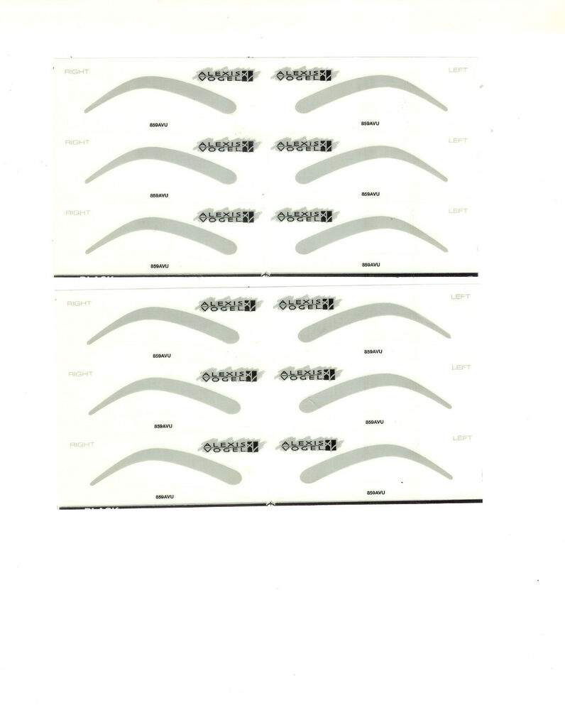 Alexis vogel eye brow stencils lot of 2 sheets ebay for Eyebrow templates printable