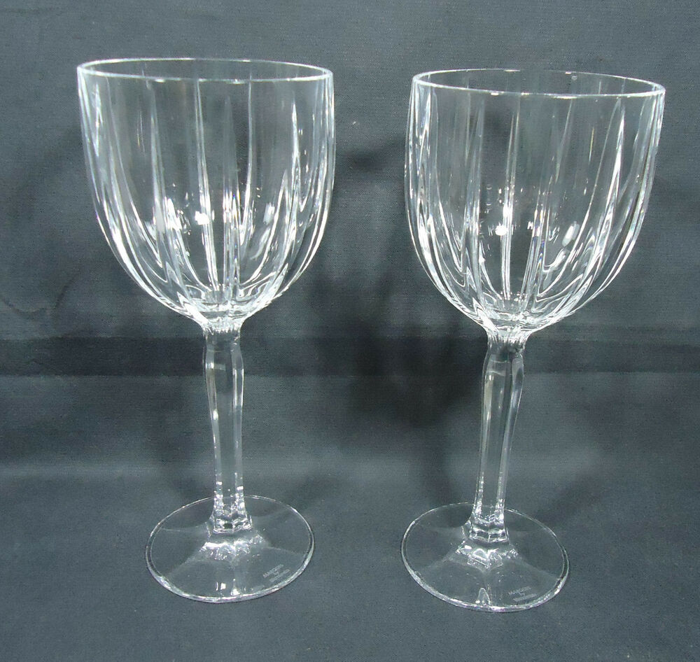 2 waterford crystal stemware marquis omega wine glasses goblets 8 5 inches tall ebay - Wedgwood crystal wine glasses ...