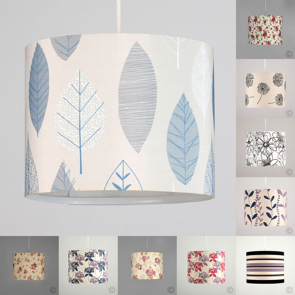 Various Floral Patterned Rolla Pendant Drum Shades Light