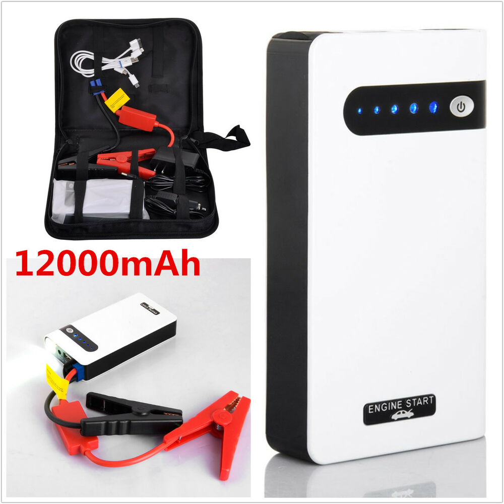 flashlight car jump starter battery charger power bank emergency battery cable ebay