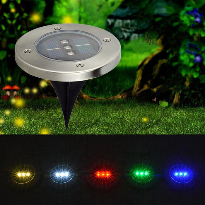 Solar Underground 3 Led Deck Buried Light Outdoor Path