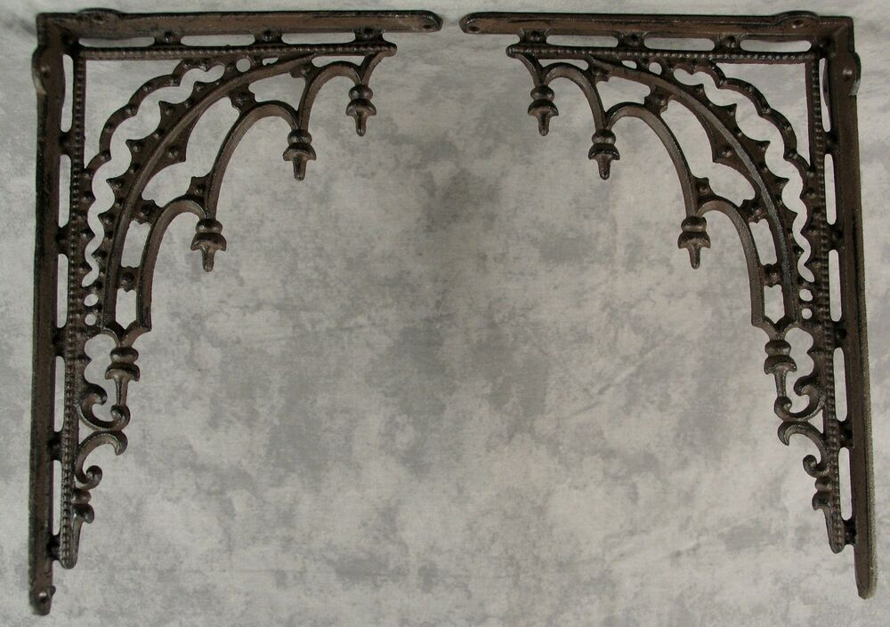 2 ARCHITECTURAL GOTHIC RENAISSANCE Cast Iron SHELF