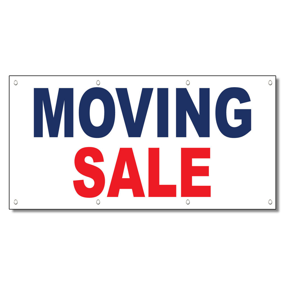 Moving Sale Blue Red 13 Oz Vinyl Banner Sign With Grommets