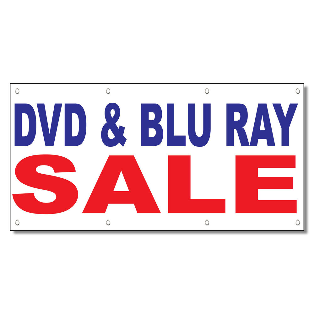 Dvd Amp Blu Ray Sale Blue Red 13 Oz Vinyl Banner Sign With