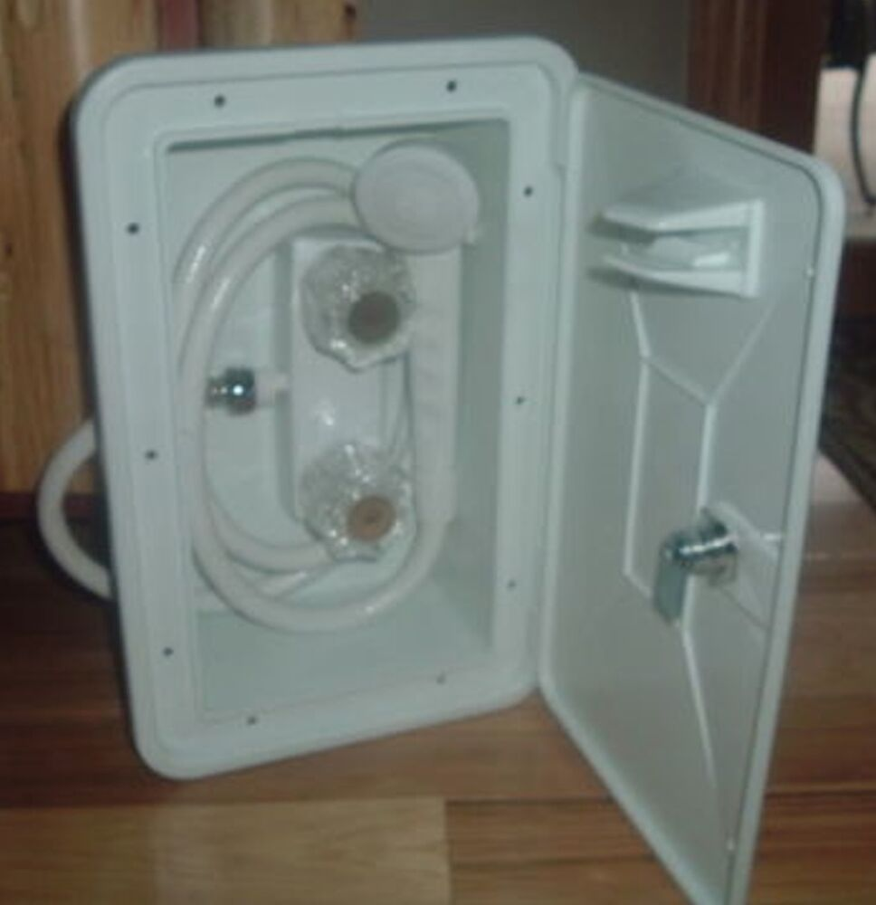 Outdoor Shower Parts : White exterior shower box kit for rv camper outside faucet