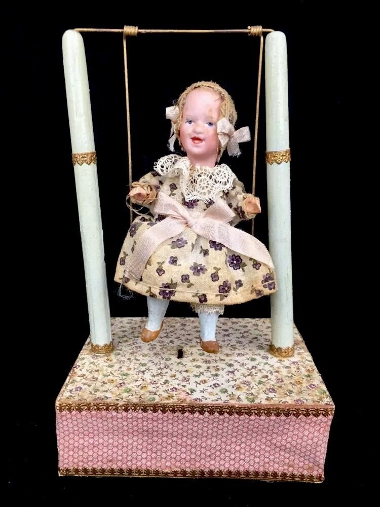 Antique Mechanical German Bisque Small Doll On Working