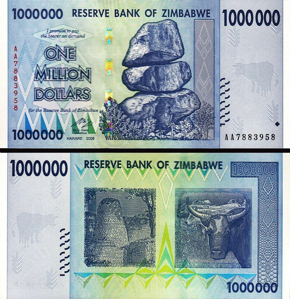 ZIMBABWE 1000000 1,000,000 1 MILLION DOLLARS 2008 ...