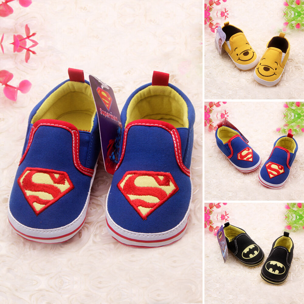 Newborn Toddler Baby Kids Boys Batman Crib Shoes Soft Sole