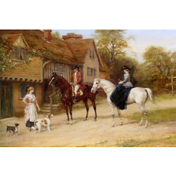 THE GAMEKEEPERS DAUGHTER HORSE DOG COUNTRYSIDE PAINTING BY HEYWOOD HARDY REPRO