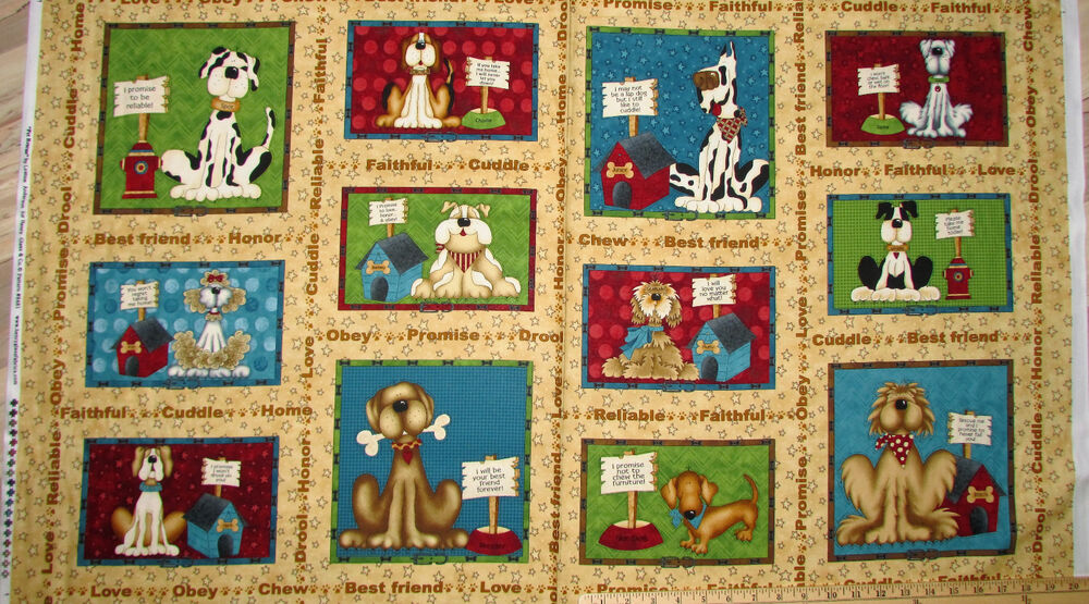 "Pet Rescue Dog Shelter Tan Blocks Fabric Panel 23"" Repeat ..."
