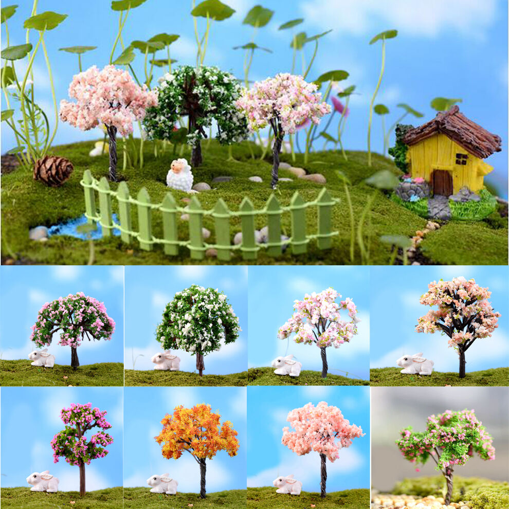 4pcs sakura tree miniature garden decor pot fairy garden for Tree decorations for garden