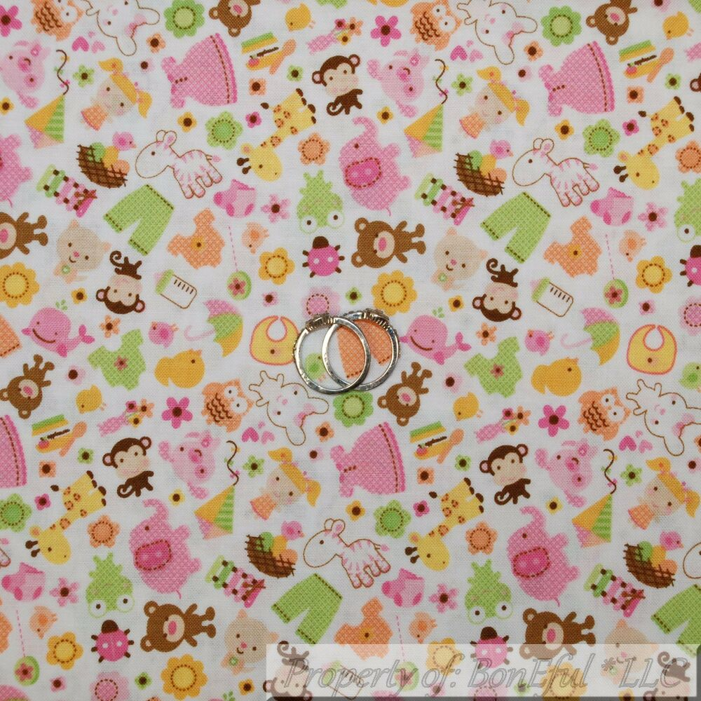 Boneful fabric fq cotton quilt white pink baby girl for Pink nursery fabric