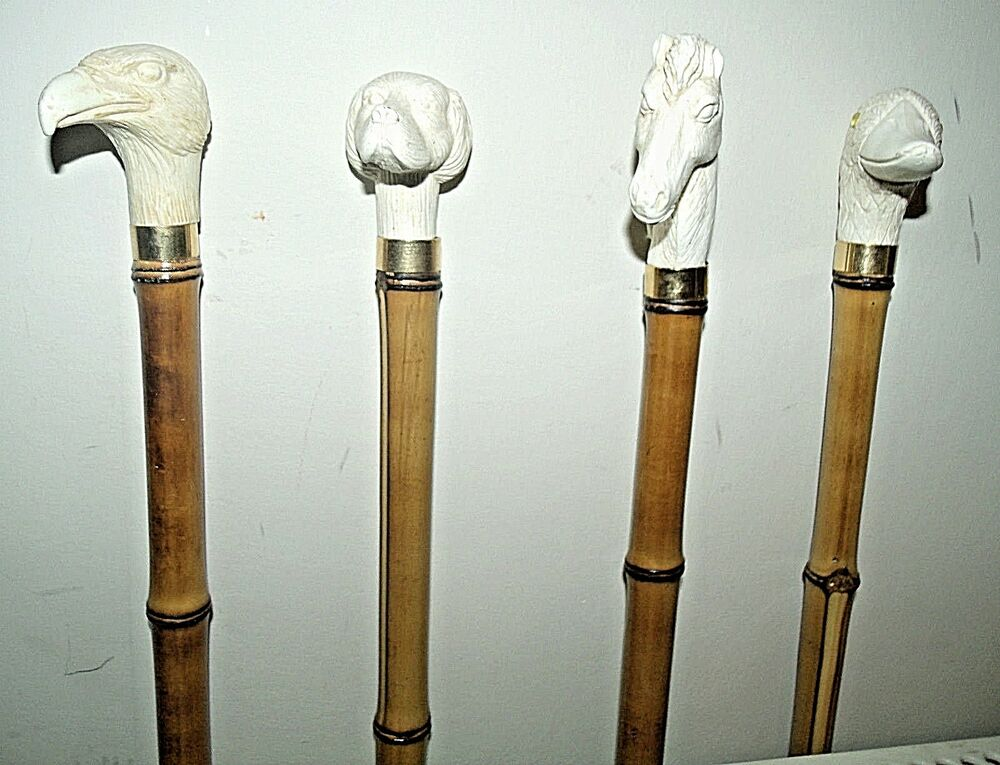 Vintage Dog Walking Stick Bamboo
