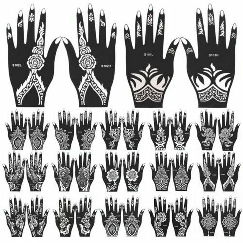 1pcs india henna temporary tattoo stencils for hand leg for Henna temporary tattoo stencils